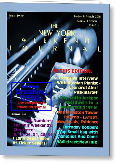 Concept Magazine Cover For The Imaginary New York Weekend Journal Of 9 March 2018. Greeting Card