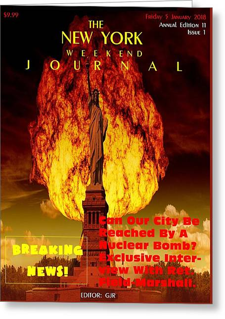 Concept Magazine Cover For The Imaginary New York Weekend Journal 5 Jan 2018 V2 Greeting Card