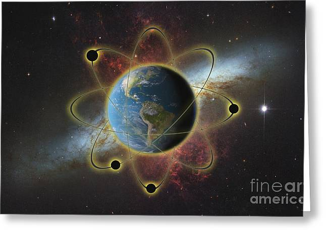 Conceptual Illustration Of Atomic Earth Greeting Card