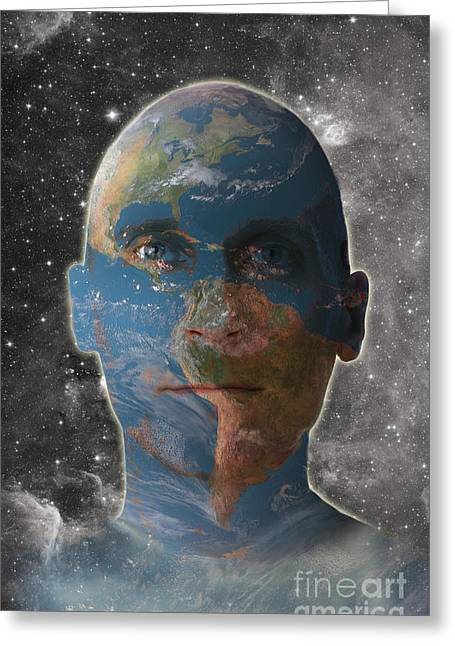 Conceptual Illustration Of Man As Earth Greeting Card