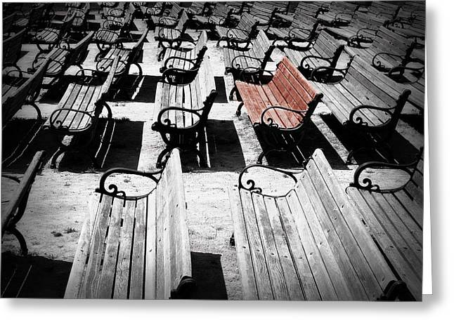 Concert Benches Greeting Card by Perry Webster