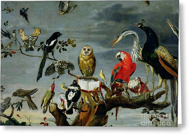 Branch Greeting Cards - Concert of Birds Greeting Card by Frans Snijders