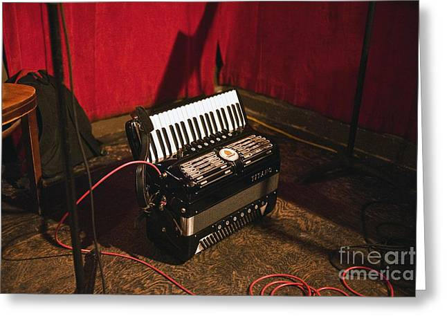 Concertina On The Floor Greeting Card by Eddy Joaquim