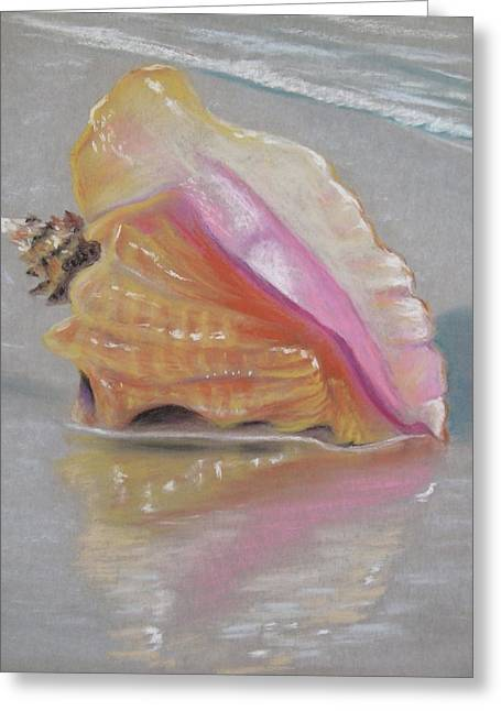 Conch On Beach Greeting Card by Joan Swanson