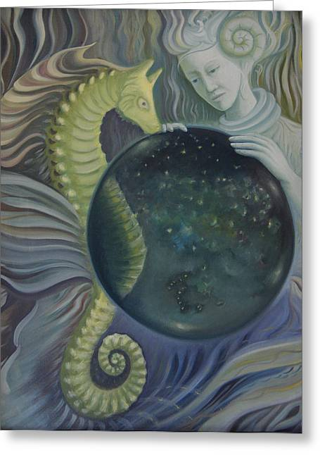 Greeting Card featuring the painting Conch Woman by Tone Aanderaa