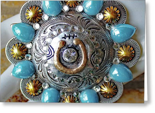 Concho Belt Buckle Greeting Card by Katherine Sutcliffe