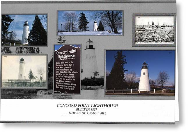 Concord Point Lighthouse Collage Greeting Card by Skip Willits