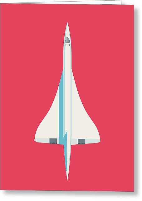 Concorde Jet Airliner - Crimson Greeting Card