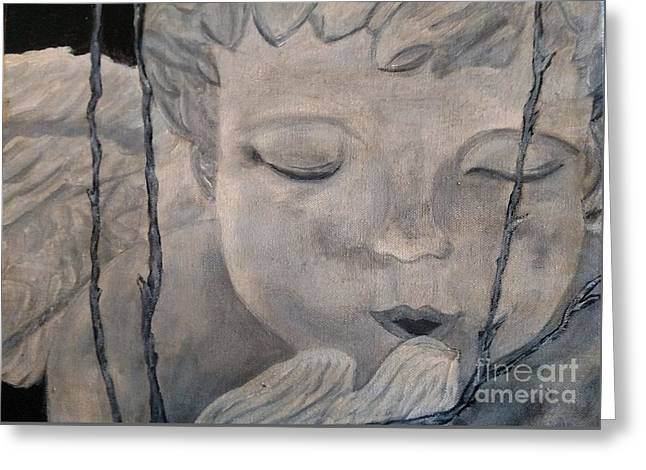 Concret Angel Greeting Card by Lori Jacobus-Crawford