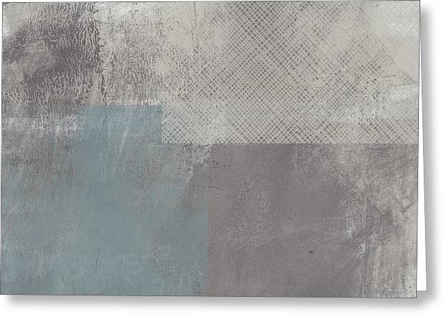Concrete 3- Contemporary Abstract Art By Linda Woods Greeting Card by Linda Woods