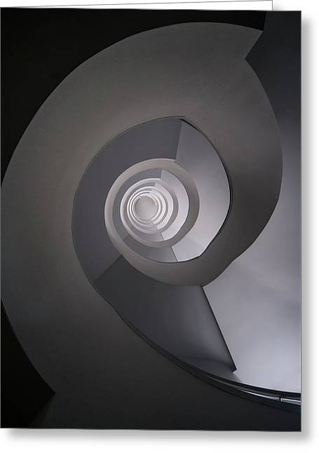 Greeting Card featuring the photograph Concrete Abstract Spiral Staircase by Jaroslaw Blaminsky