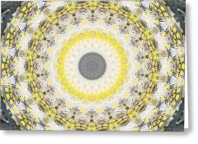 Concrete And Yellow Mandala- Abstract Art By Linda Woods Greeting Card by Linda Woods