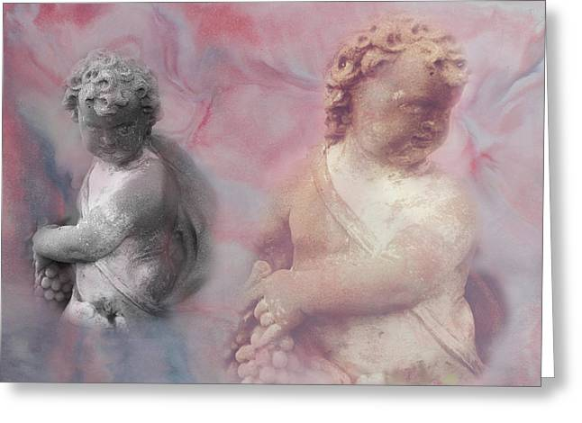 Greeting Card featuring the photograph Concrete Cherubs by Toni Hopper