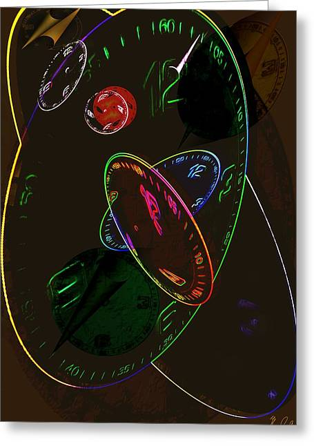 Concurrent Clocks Greeting Card by Helmut Rottler