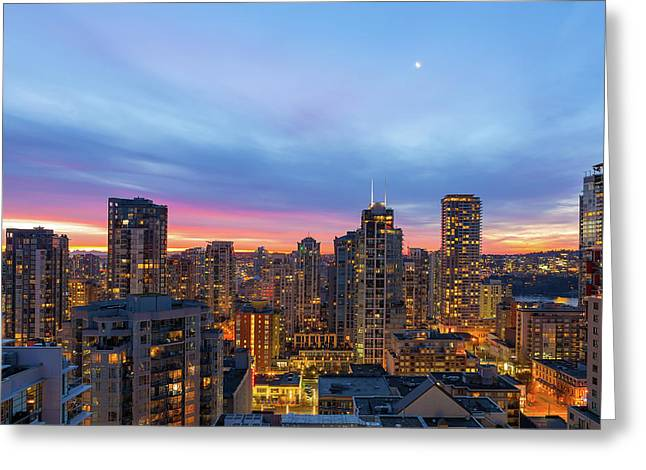 Condominium Buildings In Downtown Vancouver Bc At Sunrise Greeting Card