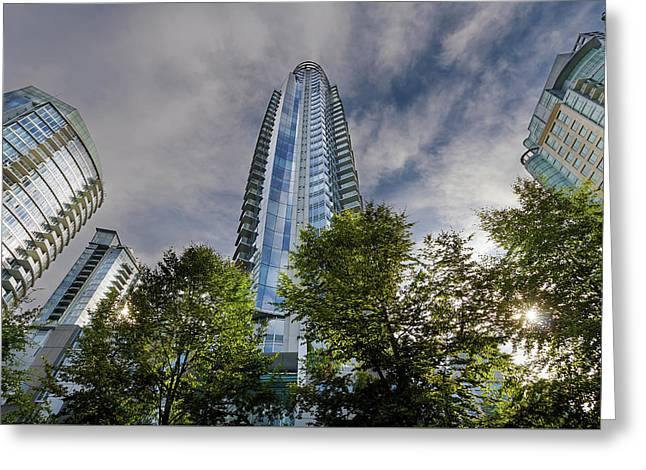 Condominiums Along Waterfront In Vancouver Bc Greeting Card by David Gn