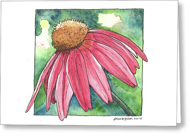Cone Flower Greeting Card by Laura McLendon