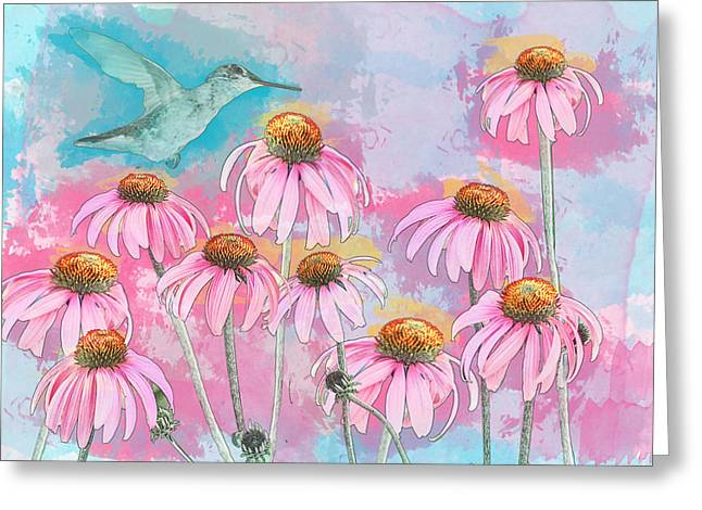Coneflower Hummingbird Watercolor Greeting Card