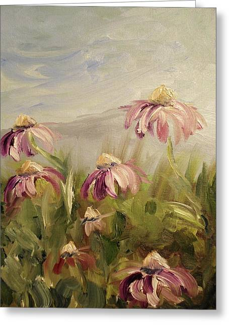 Greeting Card featuring the painting Coneflowers by Donna Tuten