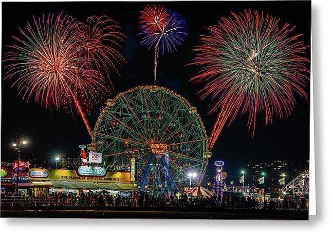 Greeting Card featuring the photograph Coney Island At Night Fantasy by Chris Lord