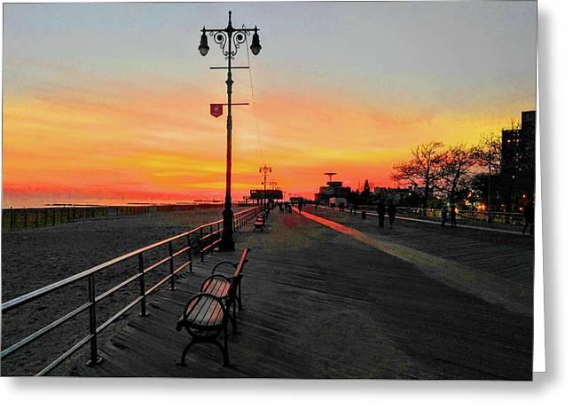 Coney Island Boardwalk Sunset Greeting Card