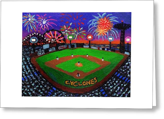 Coney Island Cyclones Fireworks Display Greeting Card
