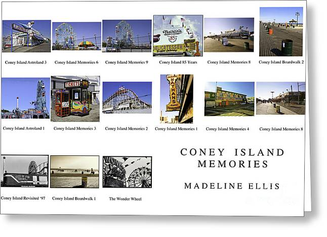 Coney Island Montage Greeting Card by Madeline Ellis