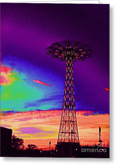 Coney Islands Parachute Jump Greeting Card