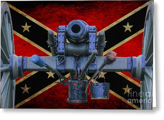 Confederate Flag And Cannon Greeting Card