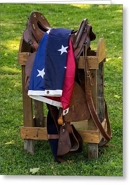 Confederate Flag And Saddle Greeting Card
