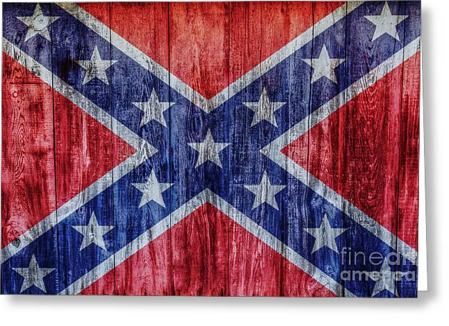 Confederate Flag On Wood Greeting Card by Randy Steele
