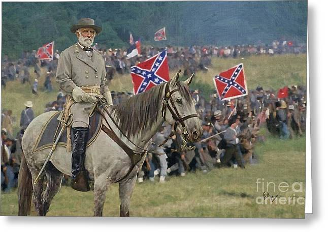 confederate Gen Robert E Lee and traveller his horse Greeting Card by William Mace