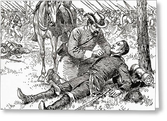 Confederate General John Brown Gordon Assists Wounded Union General Francis Channing Barlow Greeting Card by American School