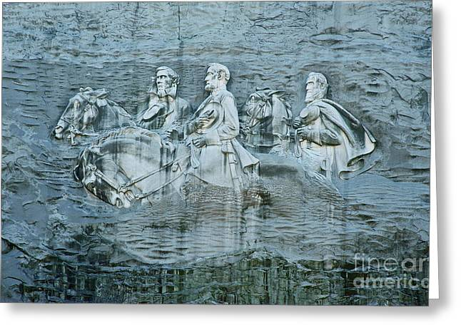 Stonewall Greeting Cards - Confederate relief at Stone Mountain Greeting Card by John Greim