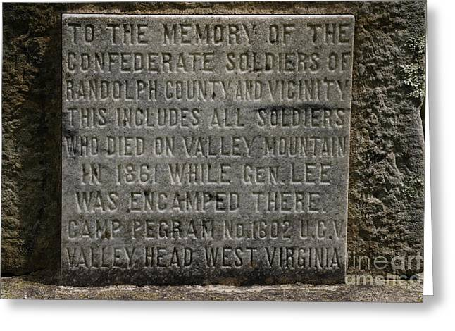 Confederate Solider Monument Greeting Card by Randy Bodkins