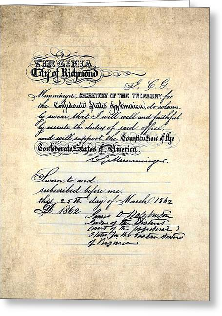 Confederate States Of America Oath Of Office Greeting Card by Daniel Hagerman