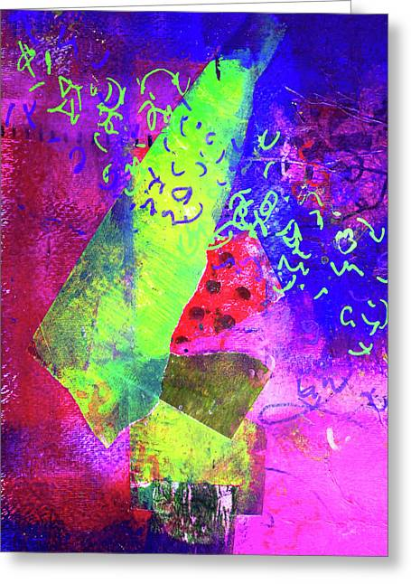Greeting Card featuring the mixed media Confetti by Nancy Merkle