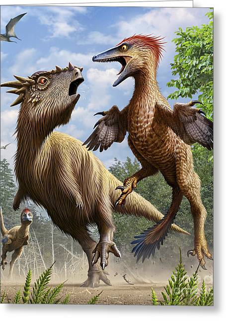 Confrontation Between Pectinodon Greeting Card by Mohamad Haghani