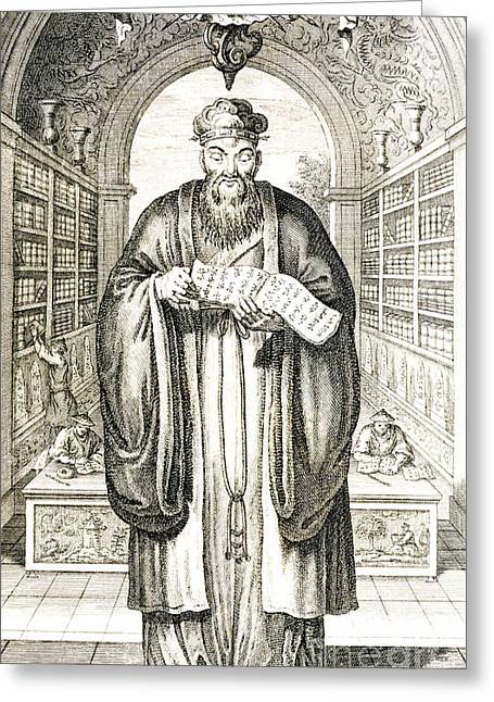 Confucius In A Library Greeting Card by Honbleau