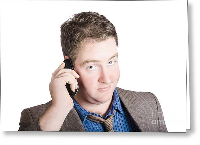 Confused Business Person On Cell Phone. Close Call Greeting Card