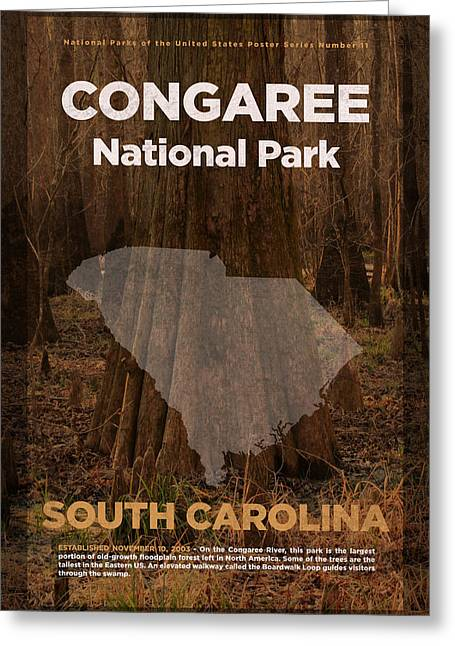 Congaree National Park In South Carolina Travel Poster Series Of National Parks Number 11 Greeting Card by Design Turnpike