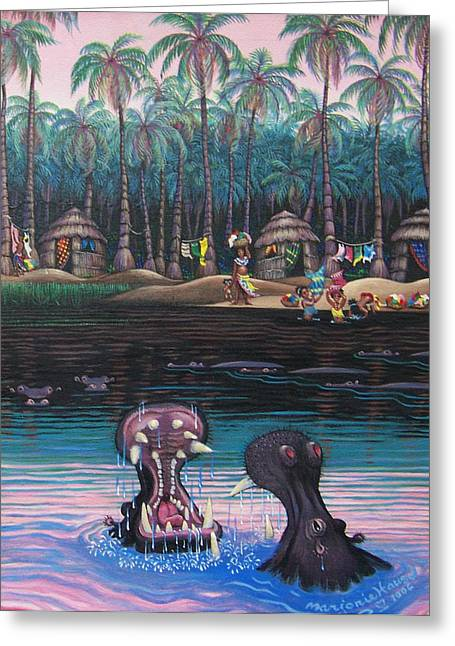 Congo Wash Day Greeting Card by Marjorie Hause