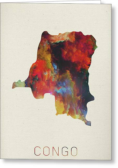 Congo Watercolor Map Greeting Card