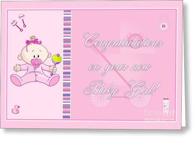 Greeting Card featuring the digital art Congrats Baby Girl Pink by JH Designs
