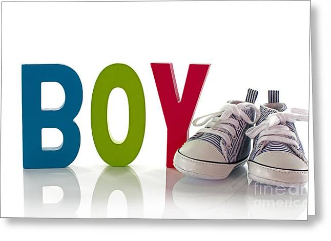 Congratulations With A Boy Card With Small Sport Shoes Greeting Card by Compuinfoto