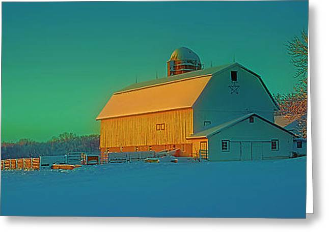 Conley Rd White Barn Greeting Card