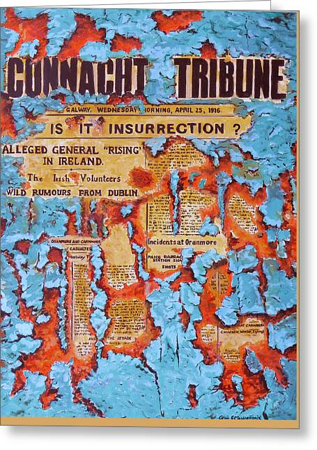 Connacht Tribune 1916 Greeting Card by Tomas OMaoldomhnaigh