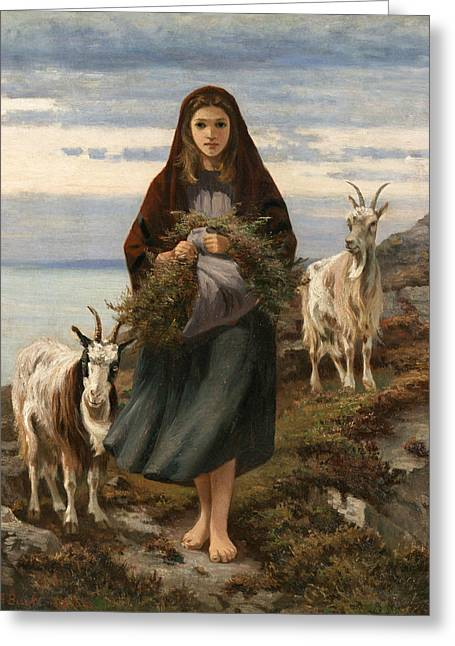 Connemara Girl Greeting Card by Augustus Nicholas Burke