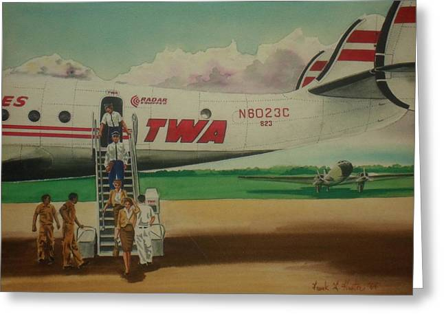 Connie Crew Deplaning At Columbus Greeting Card by Frank Hunter