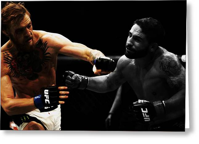 Conor Mcgregor And Chad Mendes Greeting Card by Brian Reaves
